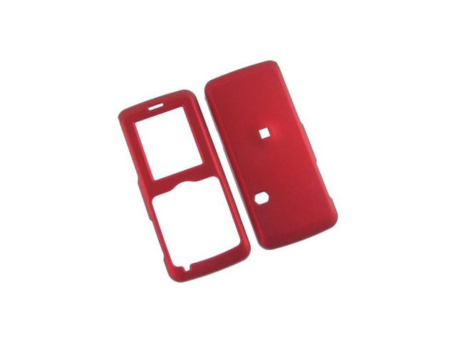 Rubber Coated Plastic Phone Cover Case Red For Cricket A100