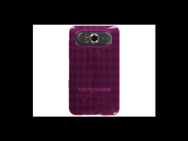 TPU Hard Gel Skin Plastic Phone Case Cover Hot Pink Argyle For HTC HD7