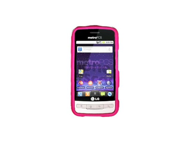 Rubberized Plastic Phone Case Protector Hot Pink For LG Optimus M