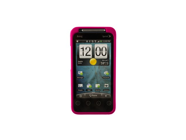 Rubber Coated Solid Phone Case Hot Pink For HTC EVO Shift 4G