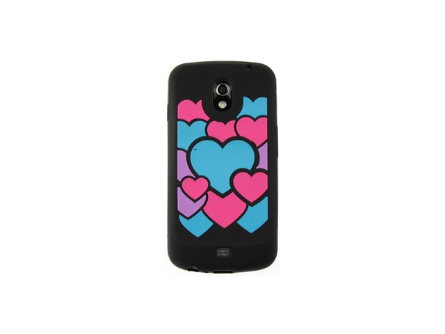 For i515 Galaxy Nexus Colorful Love/Black Pastel Silicone Protector Cover Case
