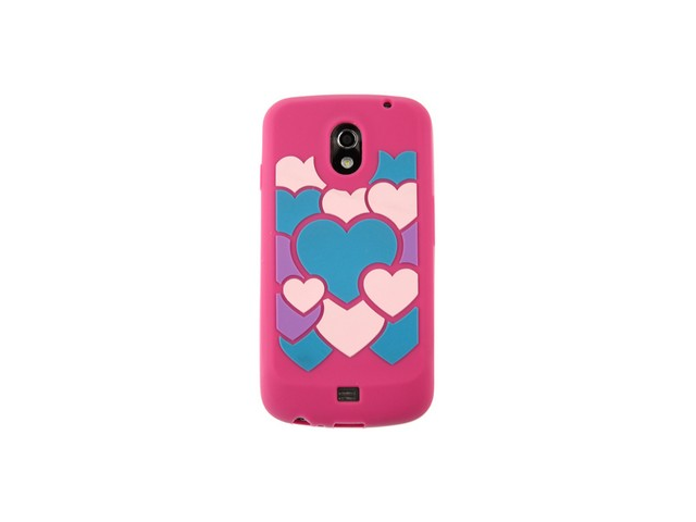 Flexible one-piece thin Skin Phone Cover Protector Wrap-on Case with embossed Hot Pink Colorful Love Design for Samsung Galaxy Nexus
