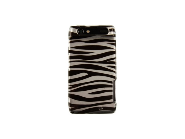 Snap On Plastic Design Phone Protector Case Cover Silver Zebra For Motorola Droid RAZR