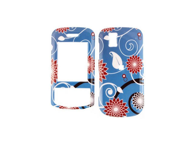 Solid Plastic Design Phone Protector Case Cover Red Flower on Blue For LG Shine II