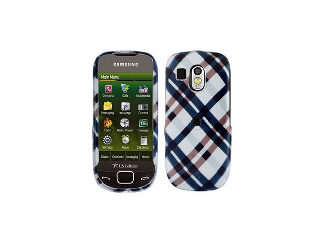 Two Piece Plastic Phone Design Cover Case Black Plaid For Samsung Caliber R850