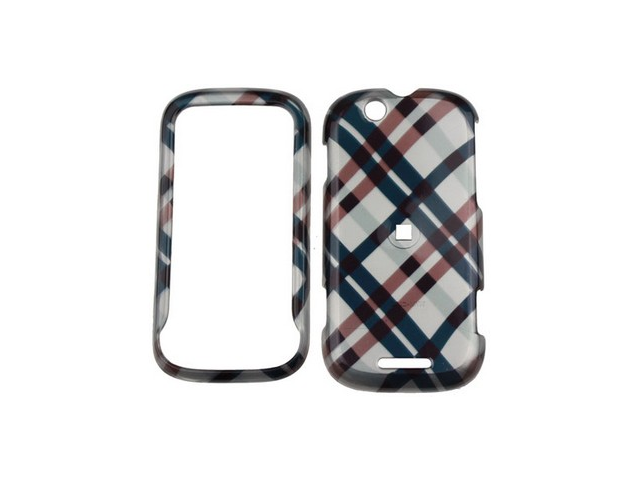 Solid Plastic Design Phone Cover Case Black Plaid For Motorola CLIQ