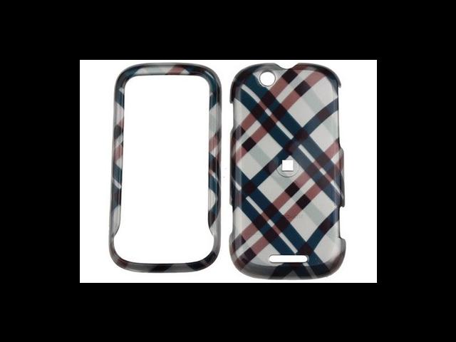 Solid Plastic Design Phone Cover Case Black Plaid For Motorola CLIQ