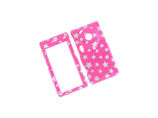 Durable Plastic Phone Design Cover Case Hot Pink and White Sparkle Stars For Samsung Memoir T929