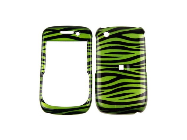 Durable Plastic Design Phone Case Cover Green and Black Zebra For BlackBerry Curve Series