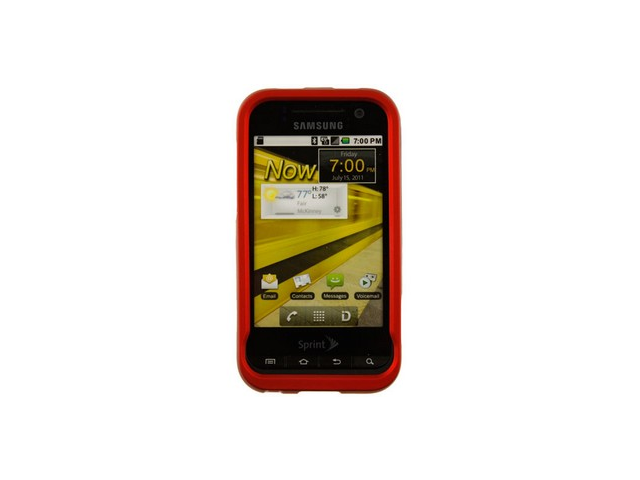Snap On Rubberized Plastic Phone Cover Case Red For Samsung Conquer Attain 4G