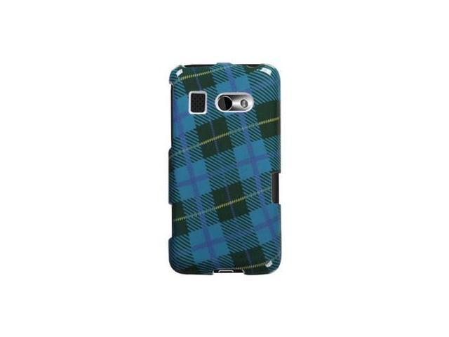Solid Plastic Protective Phone Cover Case Blue Plaid Weave For HTC Surround