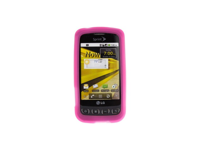 Soft Silicone Protector Skin Cover Case Transparent Hot Pink For LG Optimus S