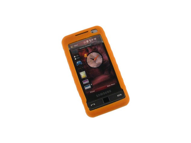Silicone Soft Gel Flexible Skin Phone Protector Orange For Samsung Omnia i910