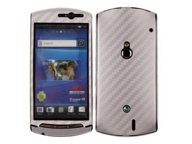 Skinomi TechSkin Silver Carbon Fiber Film Shield & Screen Protector for Sony Ericsson Xperia Neo