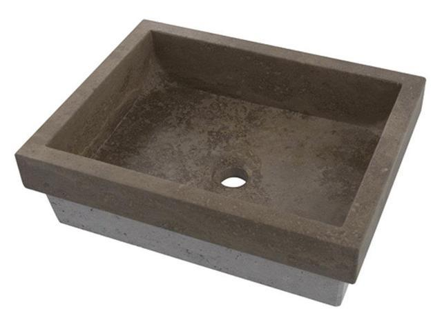 ... Belle Foret Sink Accessories By Reveal Rim Rectangular Stone Vessel Sink  Finish Noche ...