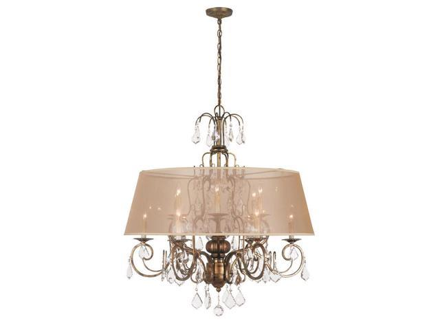 World Imports 1949-90 Belle Marie Clct 12-Lgt Hanging Chandelier, Antique Gold