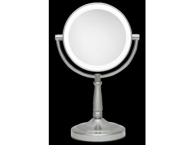 zadro led lighted 1x 10x portable round vanity mirror in satin nickel. Black Bedroom Furniture Sets. Home Design Ideas