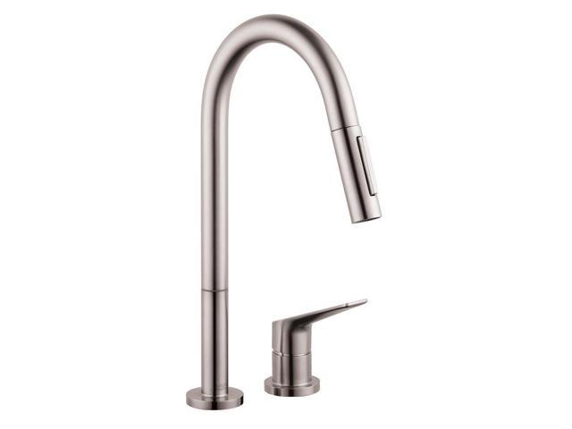 hansgrohe 34822801 axor citterio m single handle pull down sprayer kitchen faucet in steel optik. Black Bedroom Furniture Sets. Home Design Ideas
