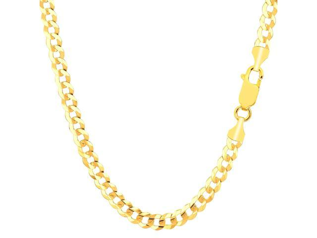 14k Yellow Gold Comfort Curb Chain Bracelet, 4.7mm, 8.5