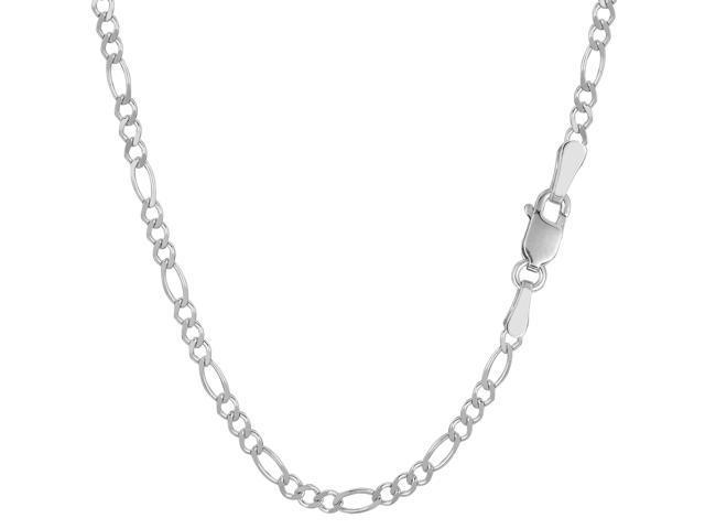 14k White Gold Classic Figaro Chain Bracelet, 2.6mm, 7