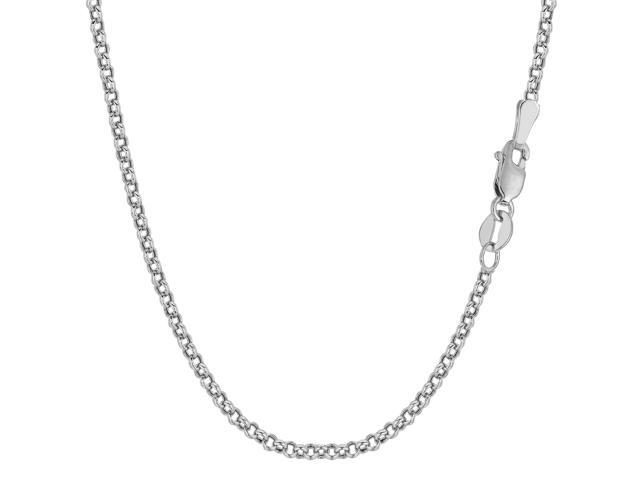 14k White Gold Round Rolo Link Chain Bracelet, 2.3mm, 7