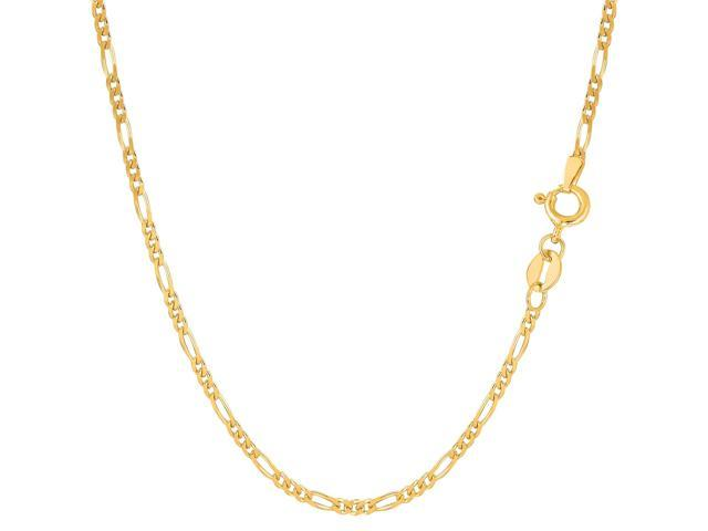 14k Yellow Gold Classic Figaro Chain Bracelet, 1.9mm, 7