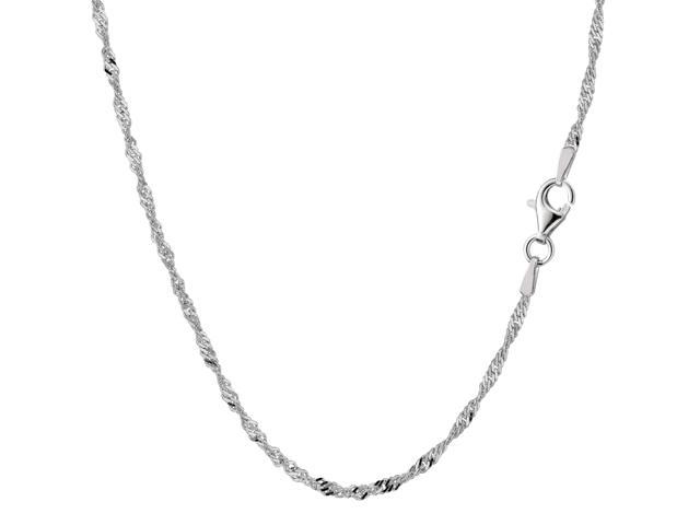 Sterling Silver Rhodium Plated Singapore Chain Necklace, 2.0mm, 16