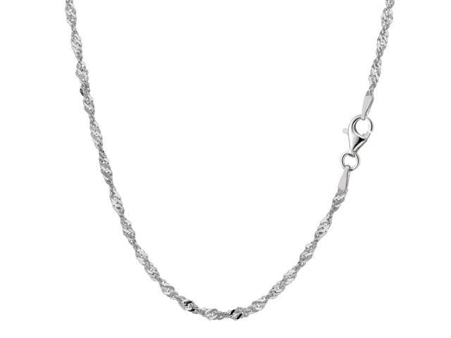 Sterling Silver Rhodium Plated Singapore Chain Necklace, 2.8mm, 16