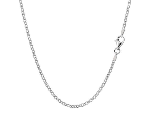 Sterling Silver Rhodium Plated Rolo Chain Necklace, 1,8mm, 16