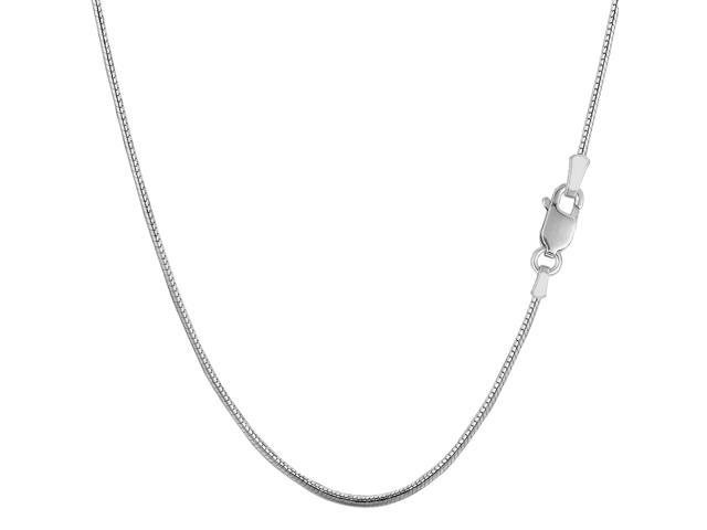 Sterling Silver Rhodium Plated Round Snake Chain Necklace, 1,2mm, 16