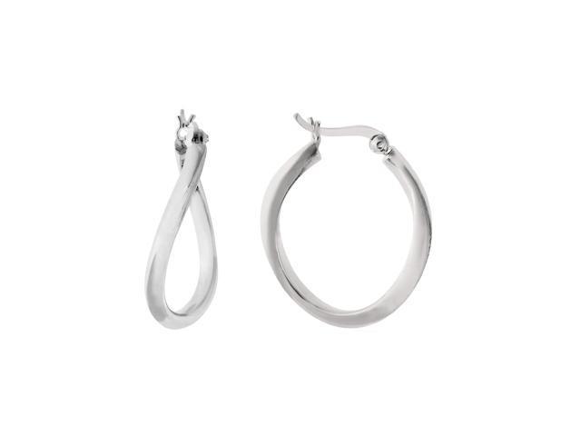 Sterling Silver Rhodium Plated Wavy Oval Hoop Earrings, Diameter 25mm