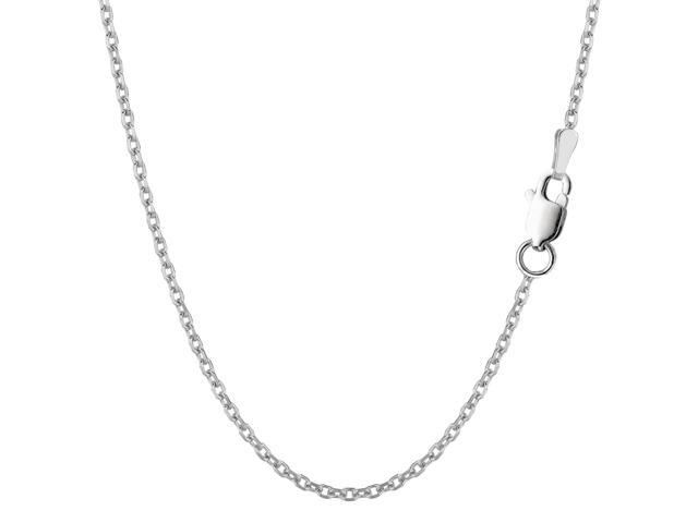 Sterling Silver Rhodium Plated Cable Chain Necklace, 1.9mm, 18