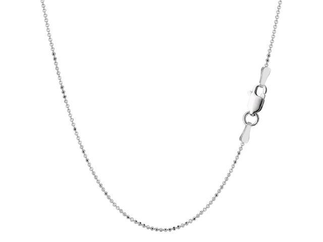 Sterling Silver Rhodium Plated Bead Chain Necklace, 1,0mm, 16