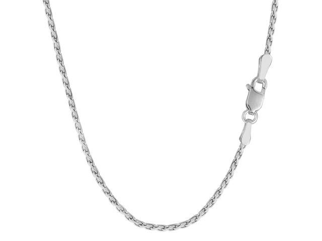 Sterling Silver Rhodium Plated Spiga Chain Necklace, 1,5mm, 20