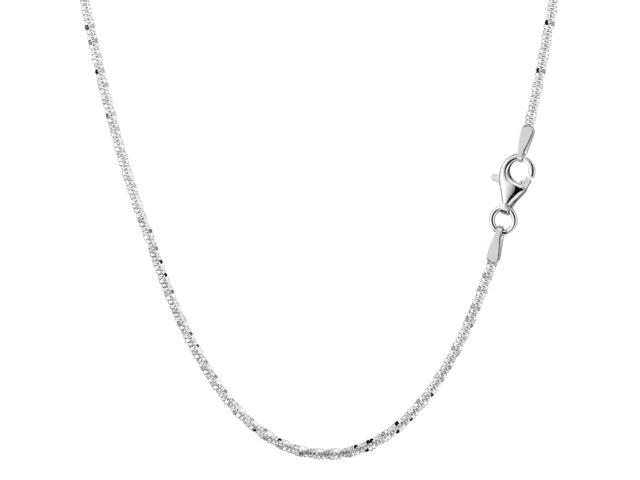 Sterling Silver Rhodium Plated Sparkle Chain Necklace, 2.2mm, 24