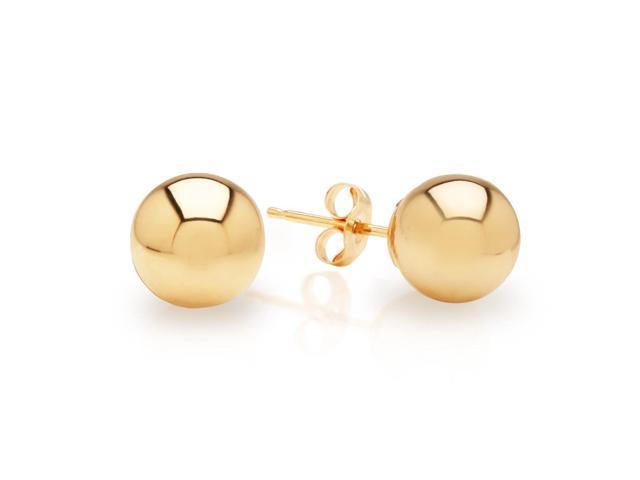 JewelryAffairs 5AZKK 14K Yellow Gold 4mm Ball Stud Earrings