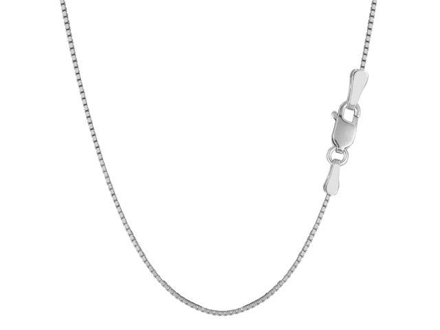 Sterling Silver Rhodium Plated Box Chain Necklace, 1.3mm, 20