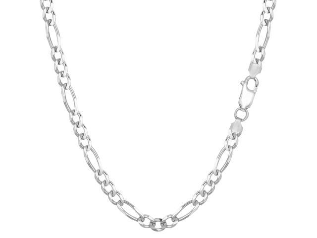 Sterling Silver Rhodium Plated Figaro Chain Necklace, 3.7mm, 24