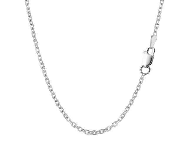 Sterling Silver Rhodium Plated Cable Chain Necklace, 2.3mm, 20