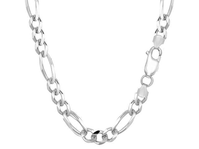 Sterling Silver Rhodium Plated Figaro Chain Necklace, 7.0mm, 24