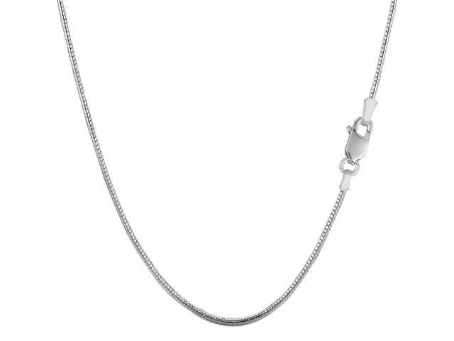 Sterling Silver Rhodium Plated Round Snake Chain Necklace, 1.4mm, 16