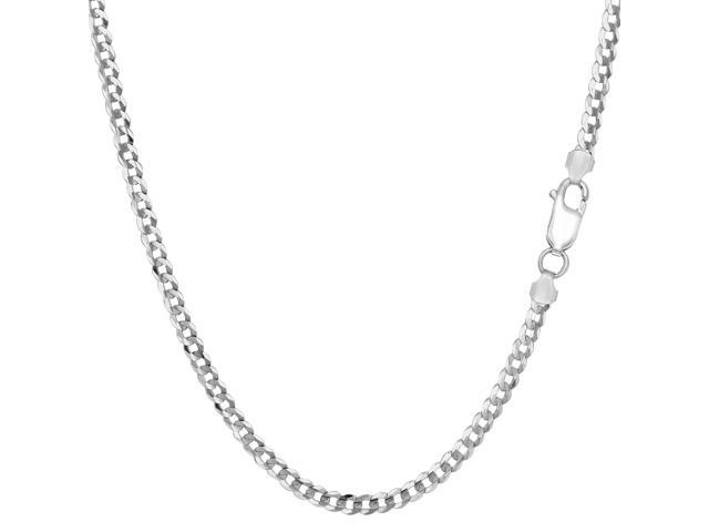 Sterling Silver Rhodium Plated Curb Chain Necklace, 3.0mm, 20