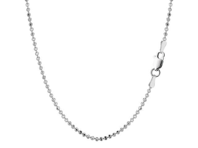 Sterling Silver Rhodium Plated Bead Chain Necklace, 1,8mm, 16
