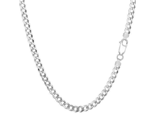 Sterling Silver Rhodium Plated Curb Chain Necklace, 3.7mm, 18