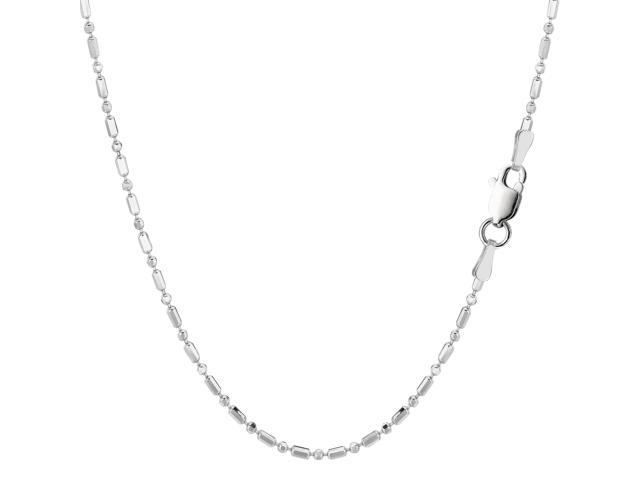 Sterling Silver Rhodium Plated & Diamond Cut Bead Chain Necklace, 1,5mm, 24