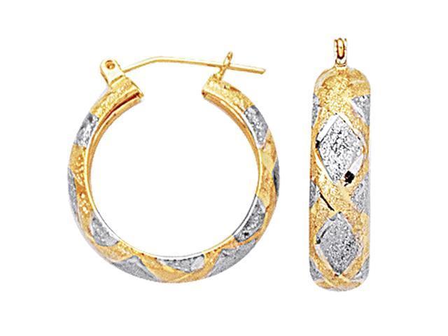 10k 2 Tone White And Yellow Gold Diamond Cut Textured Round Hoop Earrings, Diameter  22mm