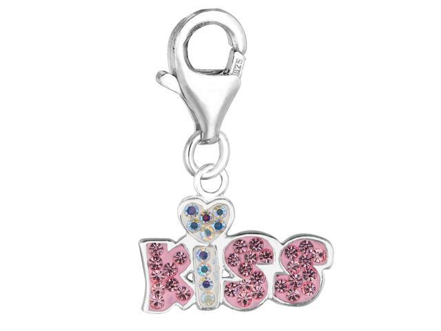 Sterling Silver Crystal Clip On Kiss Charm