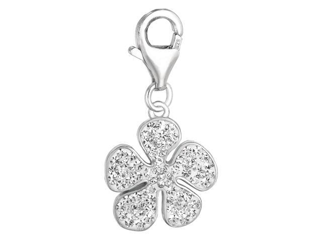 Sterling Silver Crystal Clip On Flower Charm