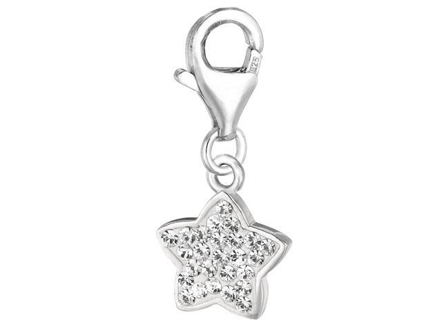 Sterling Silver Crystal Clip On Star Charm