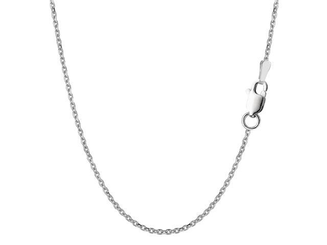 Sterling Silver Rhodium Plated Cable Chain Necklace, 1,5mm, 18